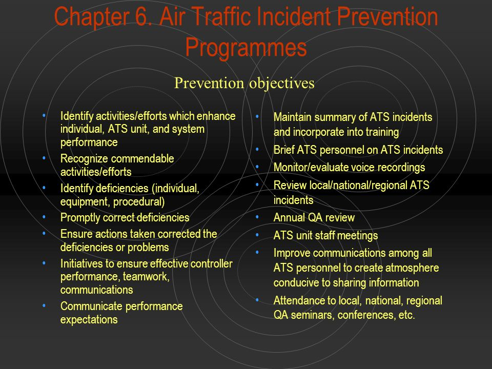 Chapter 6. Air Traffic Incident Prevention Programmes Identify activities/efforts which enhance individual, ATS unit, and system performance Recognize