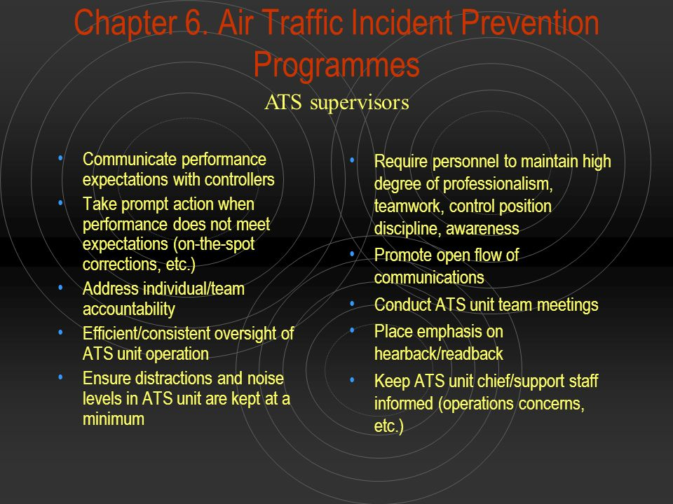Chapter 6. Air Traffic Incident Prevention Programmes Communicate performance expectations with controllers Take prompt action when performance does n