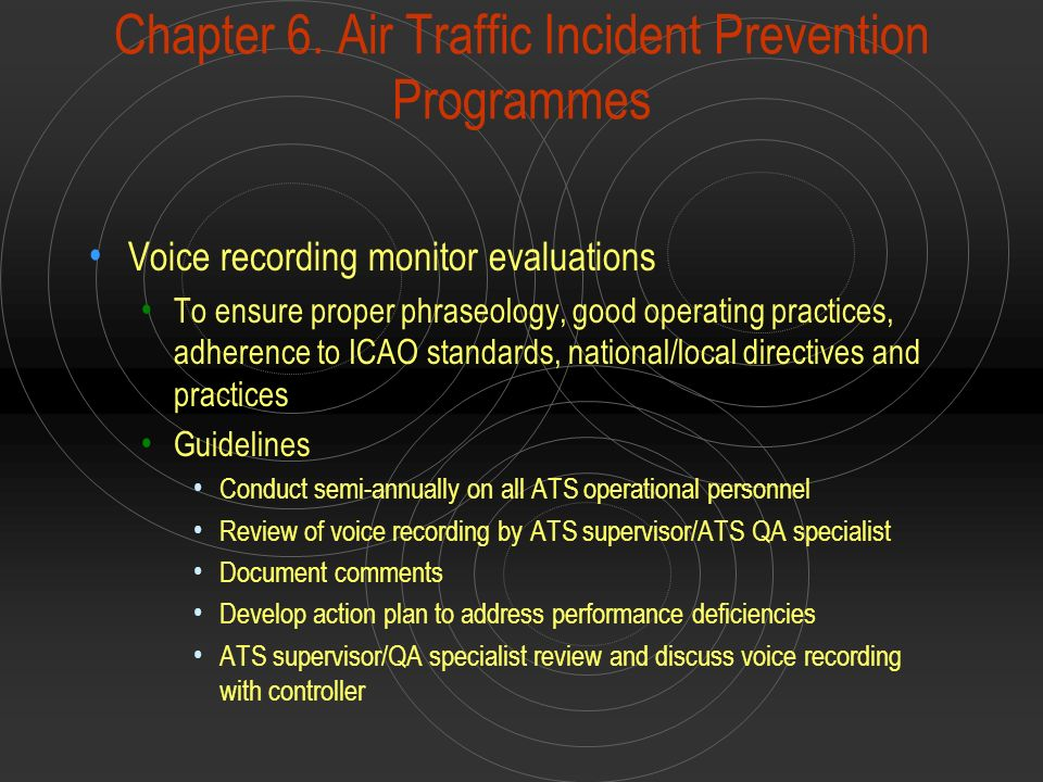 Chapter 6. Air Traffic Incident Prevention Programmes Voice recording monitor evaluations To ensure proper phraseology, good operating practices, adhe