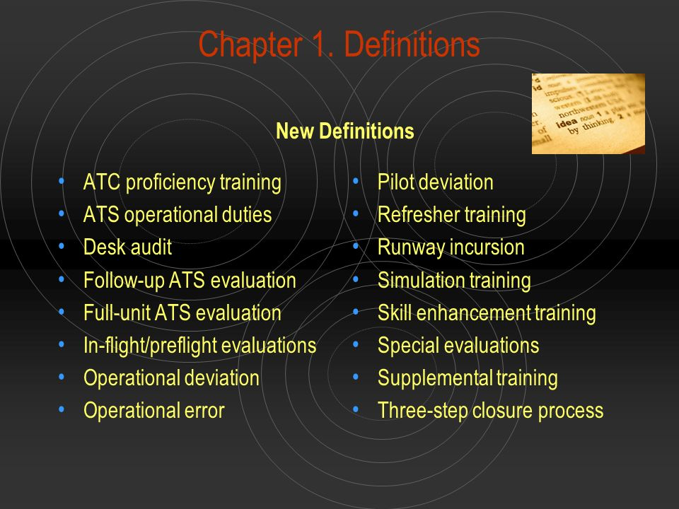 Chapter 1. Definitions ATC proficiency training ATS operational duties Desk audit Follow-up ATS evaluation Full-unit ATS evaluation In-flight/prefligh