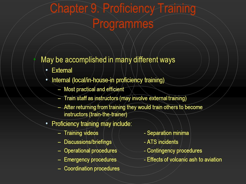 Chapter 9. Proficiency Training Programmes May be accomplished in many different ways External Internal (local/in-house-in proficiency training) –Most