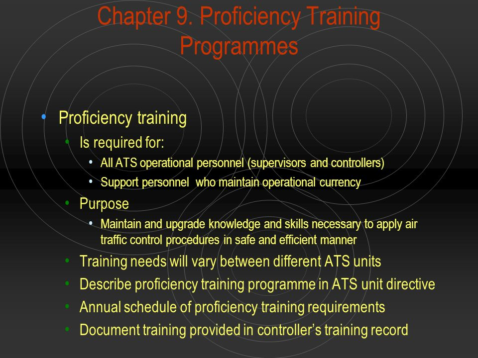 Chapter 9. Proficiency Training Programmes Proficiency training Is required for: All ATS operational personnel (supervisors and controllers) Support p