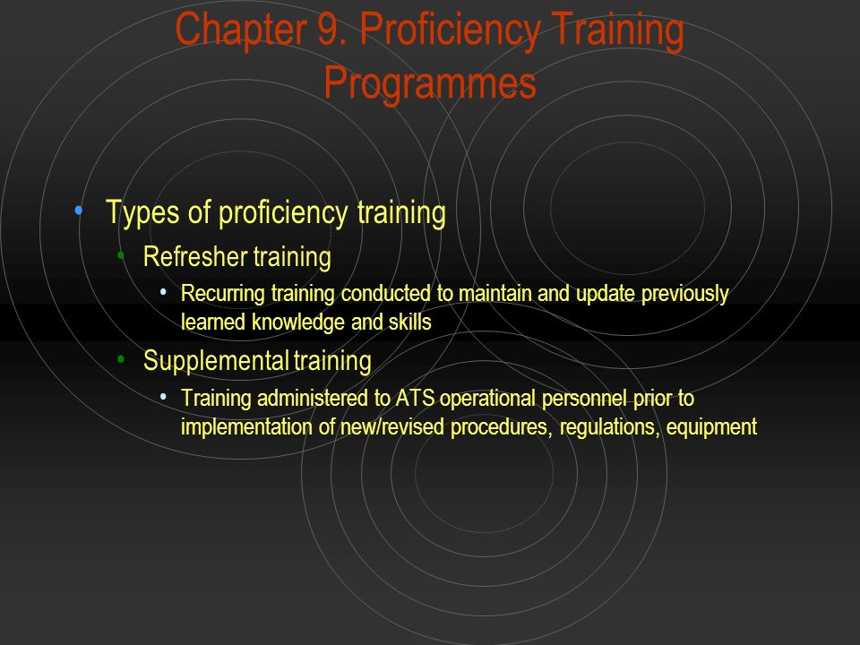Chapter 9. Proficiency Training Programmes Types of proficiency training Refresher training Recurring training conducted to maintain and update previo