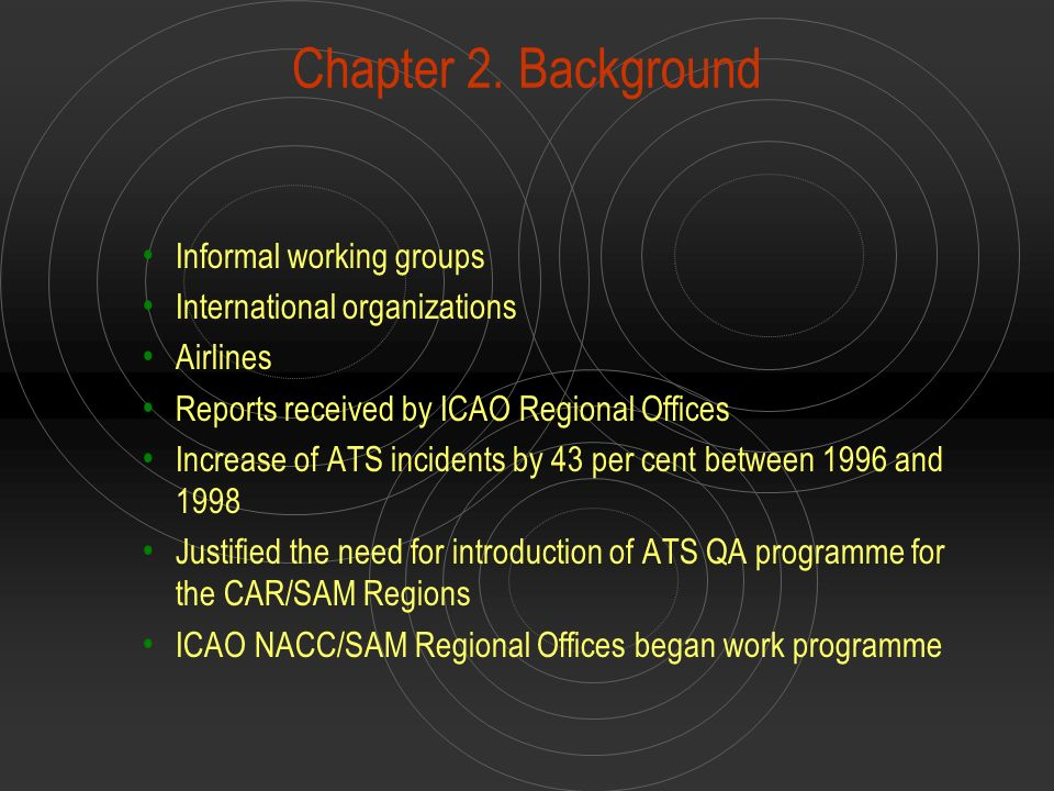 Chapter 2. Background Informal working groups International organizations Airlines Reports received by ICAO Regional Offices Increase of ATS incidents