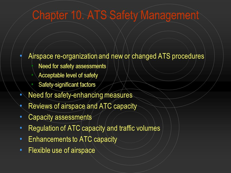 Chapter 10. ATS Safety Management Airspace re-organization and new or changed ATS procedures Need for safety assessments Acceptable level of safety Sa