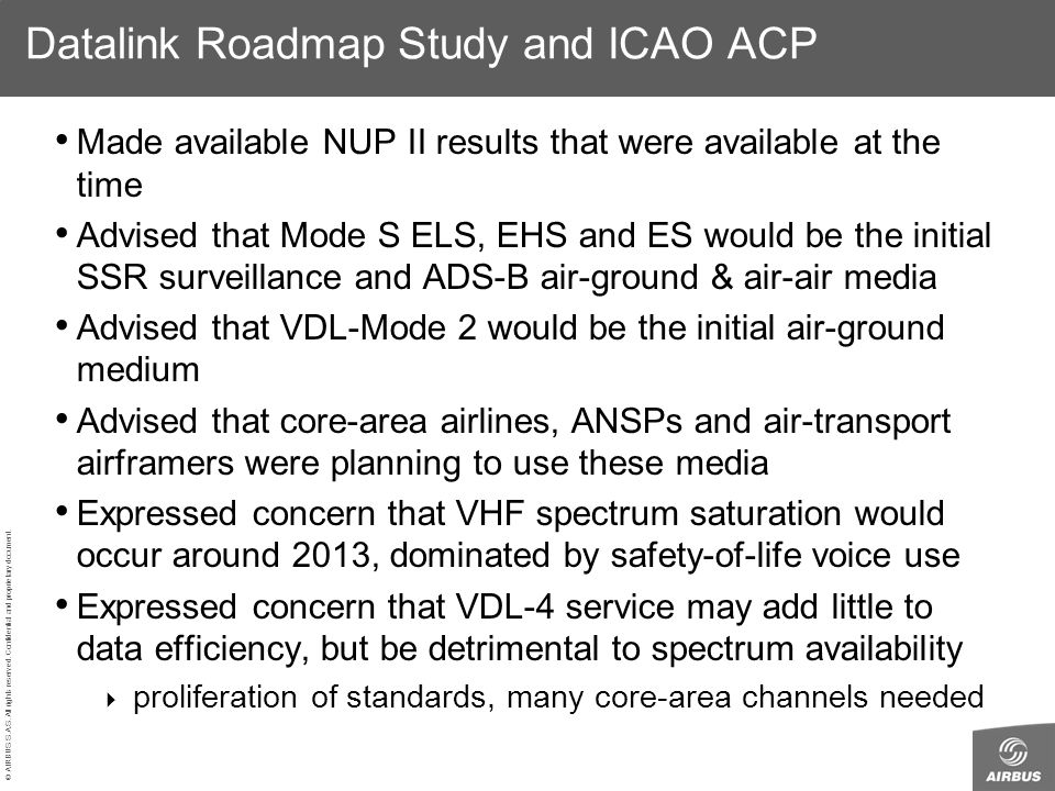 © AIRBUS S.A.S. All rights reserved. Confidential and proprietary document. Datalink Roadmap Study and ICAO ACP Made available NUP II results that wer