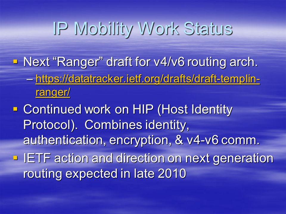 IP Mobility Work Status Next Ranger draft for v4/v6 routing arch.