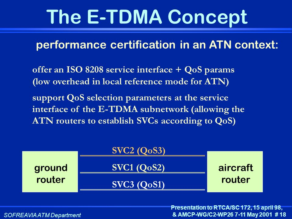 SOFREAVIA ATM Department Presentation to RTCA/SC 172, 15 april 98, & AMCP-WG/C2-WP26 7-11 May 2001 # 18 The E-TDMA Concept performance certification i
