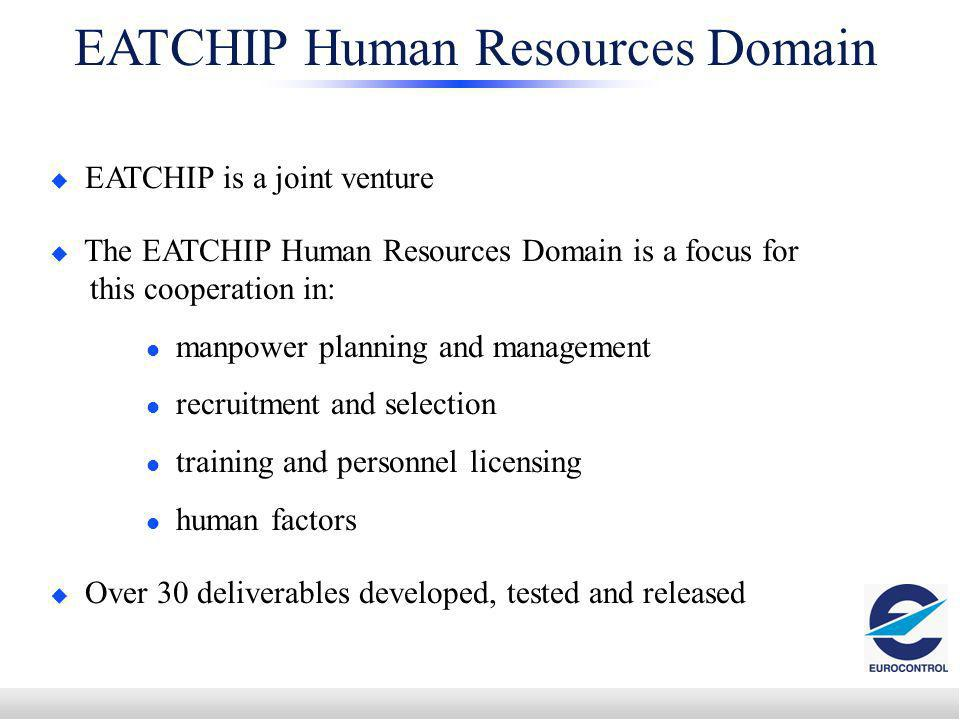 EATCHIP Human Resources Domain EATCHIP is a joint venture The EATCHIP Human Resources Domain is a focus for this cooperation in: manpower planning and