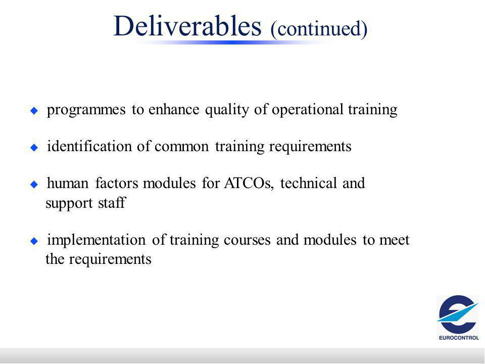 programmes to enhance quality of operational training identification of common training requirements human factors modules for ATCOs, technical and support staff implementation of training courses and modules to meet the requirements Deliverables (continued)
