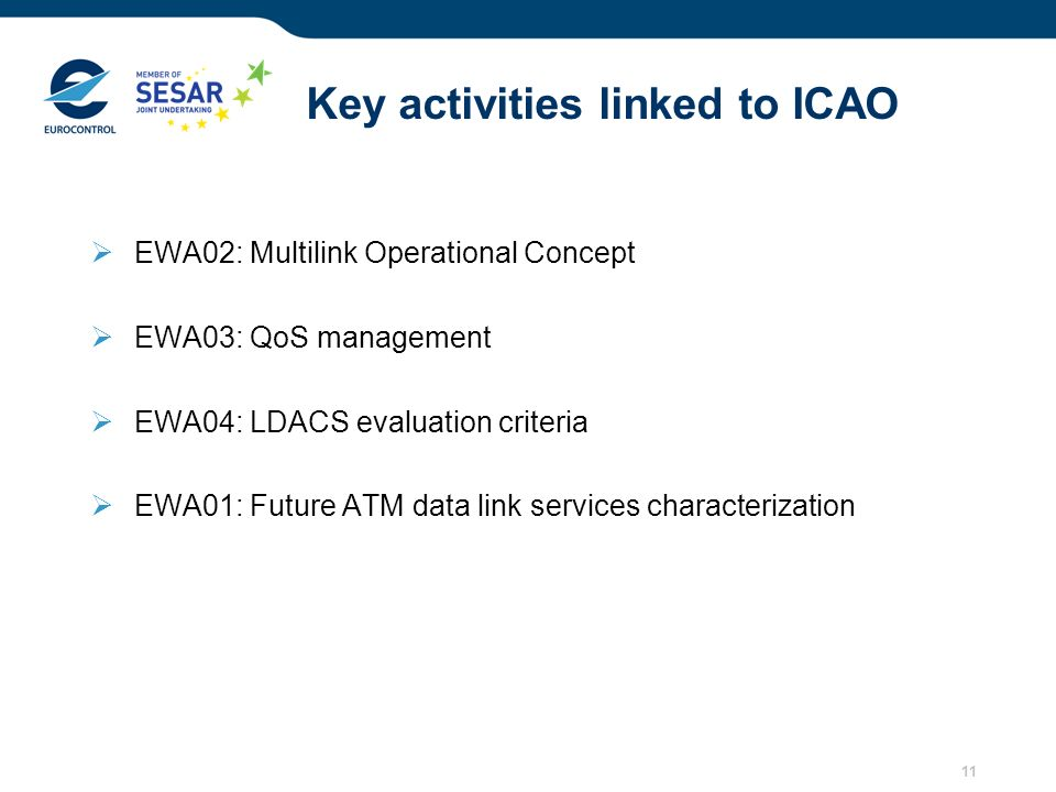 11 Key activities linked to ICAO EWA02: Multilink Operational Concept EWA03: QoS management EWA04: LDACS evaluation criteria EWA01: Future ATM data li