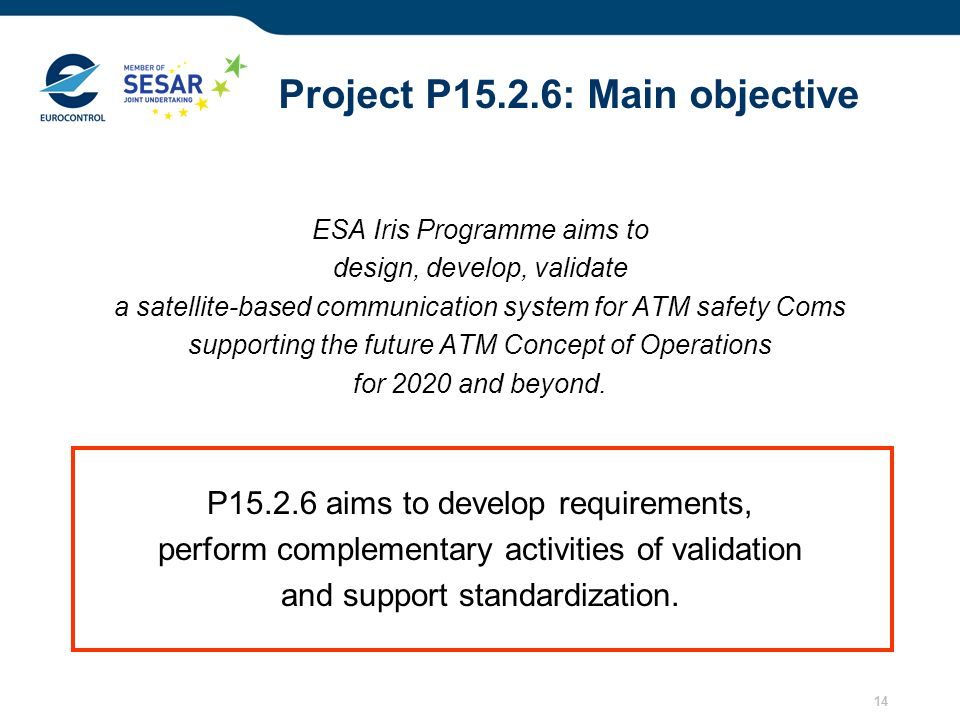 14 Project P15.2.6: Main objective ESA Iris Programme aims to design, develop, validate a satellite-based communication system for ATM safety Coms sup