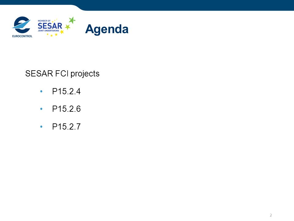 2 Agenda SESAR FCI projects P15.2.4 P15.2.6 P15.2.7