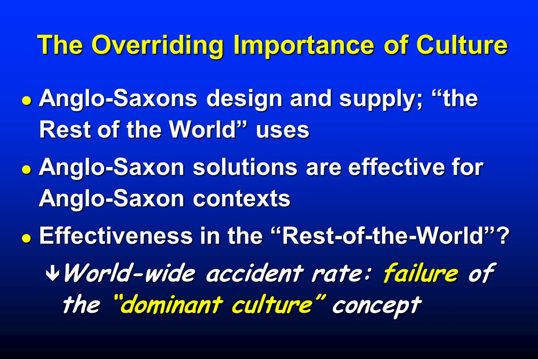 The Overriding Importance of Culture The Overriding Importance of Culture Anglo-Saxons design and supply; the Rest of the World uses Anglo-Saxons desi