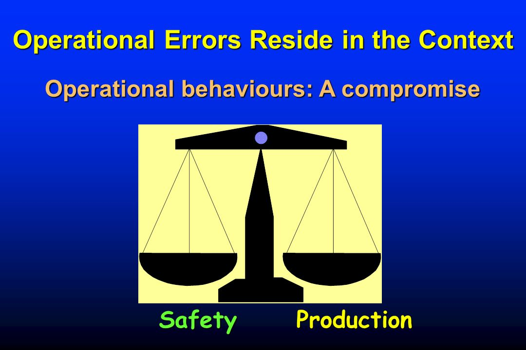 Operational Errors Reside in the Context SafetyProduction Operational behaviours:A compromise Operational behaviours: A compromise