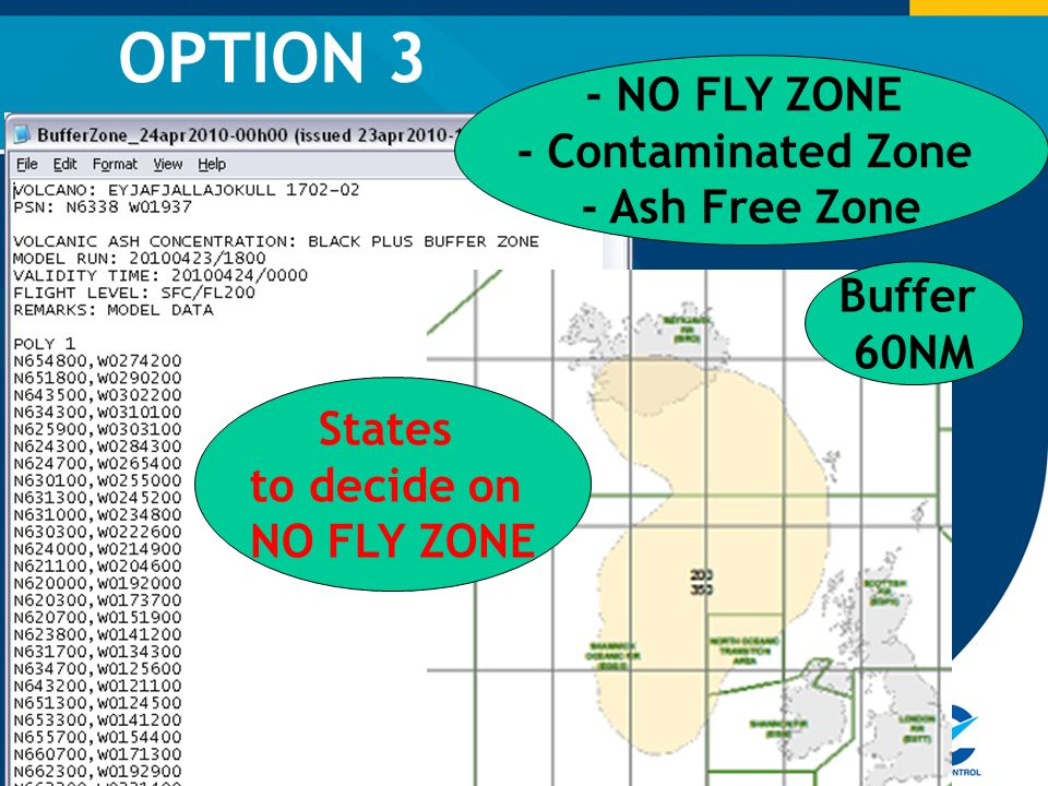 OPTION 3 - NO FLY ZONE - Contaminated Zone - Ash Free Zone Buffer 60NM States to decide on NO FLY ZONE