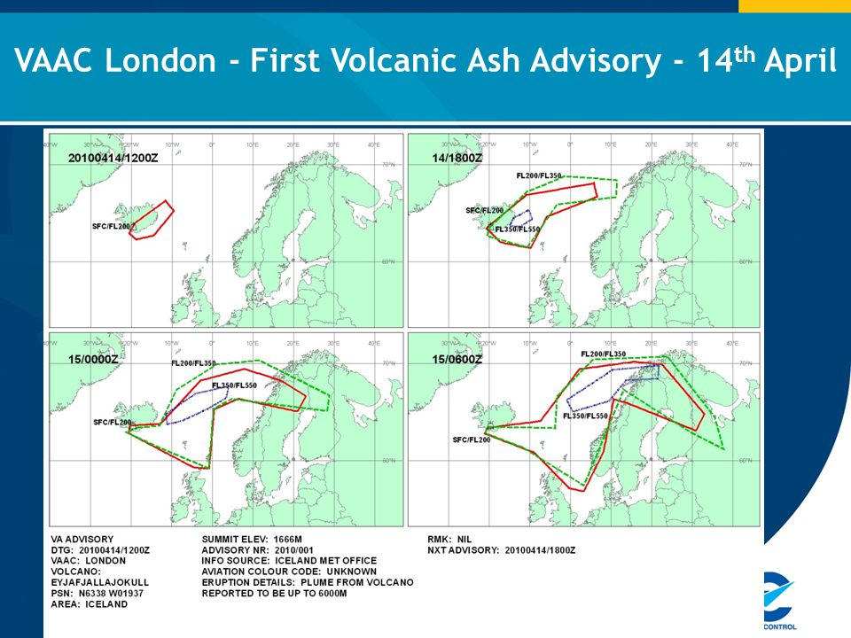 VAAC London - First Volcanic Ash Advisory - 14 th April