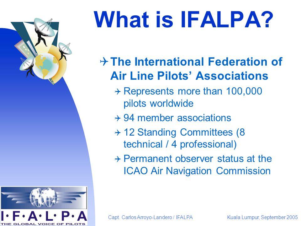 Kuala Lumpur, September 2005Capt. Carlos Arroyo-Landero / IFALPA What is IFALPA? The International Federation of Air Line Pilots Associations Represen
