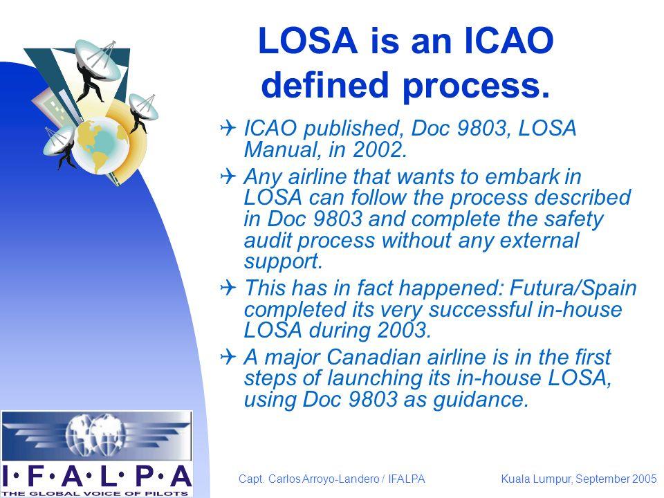 Kuala Lumpur, September 2005Capt. Carlos Arroyo-Landero / IFALPA LOSA is an ICAO defined process. ICAO published, Doc 9803, LOSA Manual, in 2002. Any