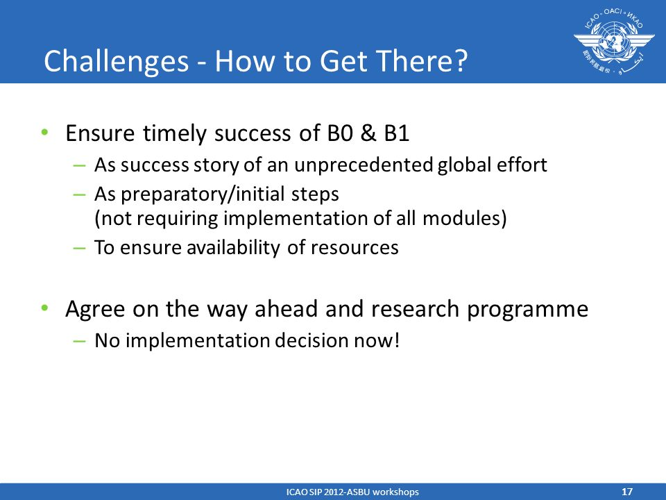 Challenges - How to Get There? Ensure timely success of B0 & B1 – As success story of an unprecedented global effort – As preparatory/initial steps (n