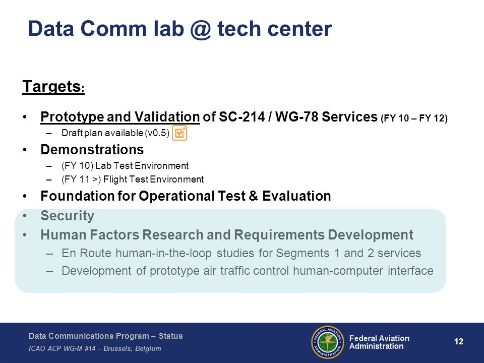 Data Communications Program – Status ICAO ACP WG-M #14 – Brussels, Belgium 12 Data Comm lab @ tech center Targets : Prototype and Validation of SC-214 / WG-78 Services (FY 10 – FY 12) –Draft plan available (v0.5) Demonstrations –(FY 10) Lab Test Environment –(FY 11 >) Flight Test Environment Foundation for Operational Test & Evaluation Security Human Factors Research and Requirements Development –En Route human-in-the-loop studies for Segments 1 and 2 services –Development of prototype air traffic control human-computer interface