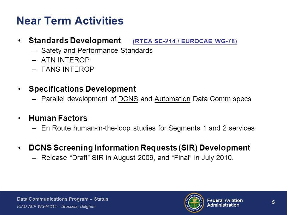 Data Communications Program – Status ICAO ACP WG-M #14 – Brussels, Belgium 16