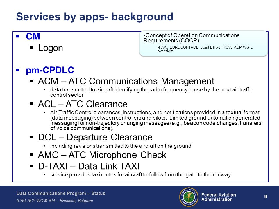 Data Communications Program – Status ICAO ACP WG-M #14 – Brussels, Belgium 10 Services by apps- background (cont.) pm-ADS-C and pm-CPDLC 4D TRAJ – 4D Trajectory in Performance Based Airspace, providing conflict-free flight with stable aircraft routing FLIPINT – Flight Plan Intent ITP – In-Trail Procedures M&S – Merging and Spacing C&P – Crossing and Passing PAIRAPP – Paired Approaches pm-FIS D-OTIS – Data Link Operational Terminal Information Service D-HIWAS – Data Link Hazardous Weather Service RVR – Data Link Runway Visual Range Service D-FLUP – Data Link Flight Update Information sent to aircraft on known flight delays/constraints, using the Data Link Flight Update Service.