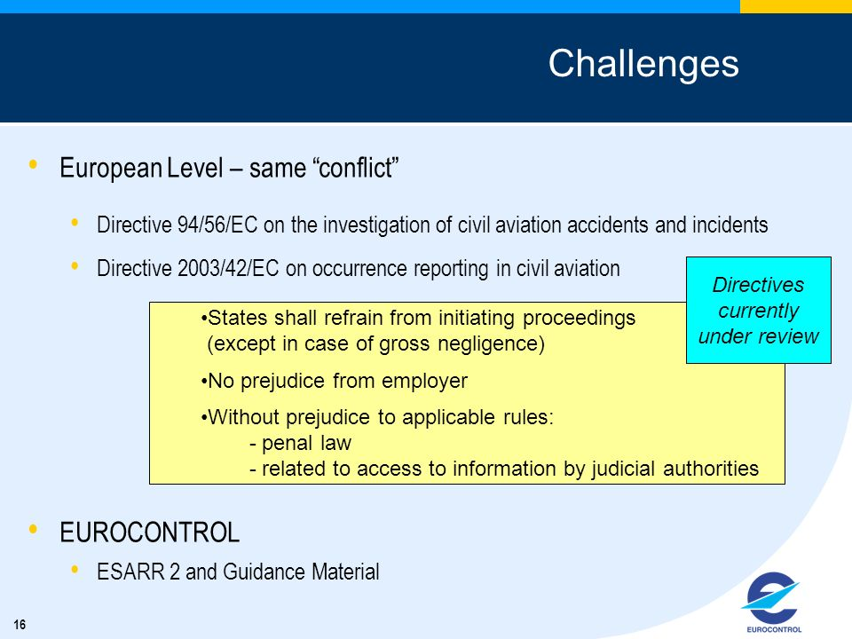 16 Challenges European Level – same conflict Directive 94/56/EC on the investigation of civil aviation accidents and incidents Directive 2003/42/EC on