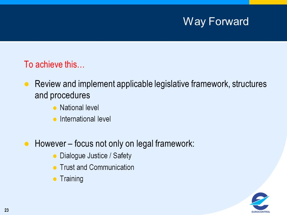 23 Way Forward To achieve this… Review and implement applicable legislative framework, structures and procedures National level International level Ho