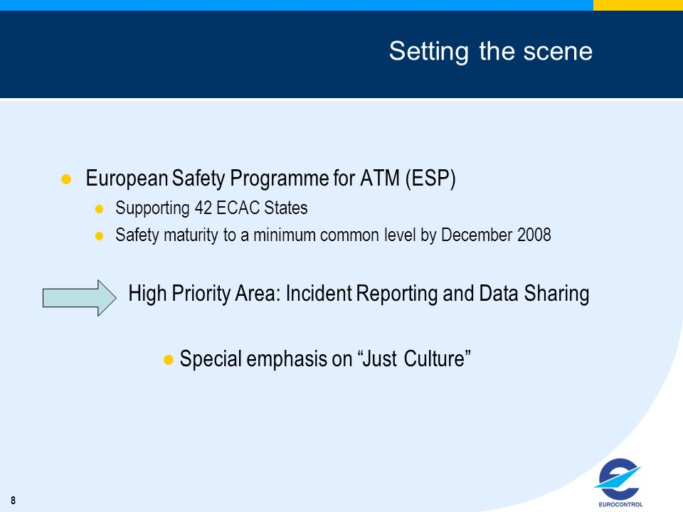 8 Setting the scene European Safety Programme for ATM (ESP) Supporting 42 ECAC States Safety maturity to a minimum common level by December 2008 High