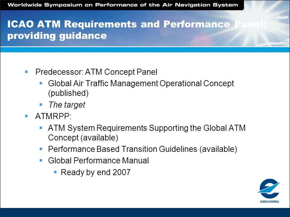 ICAO ATM Requirements and Performance Panel: providing guidance Predecessor: ATM Concept Panel Global Air Traffic Management Operational Concept (publ