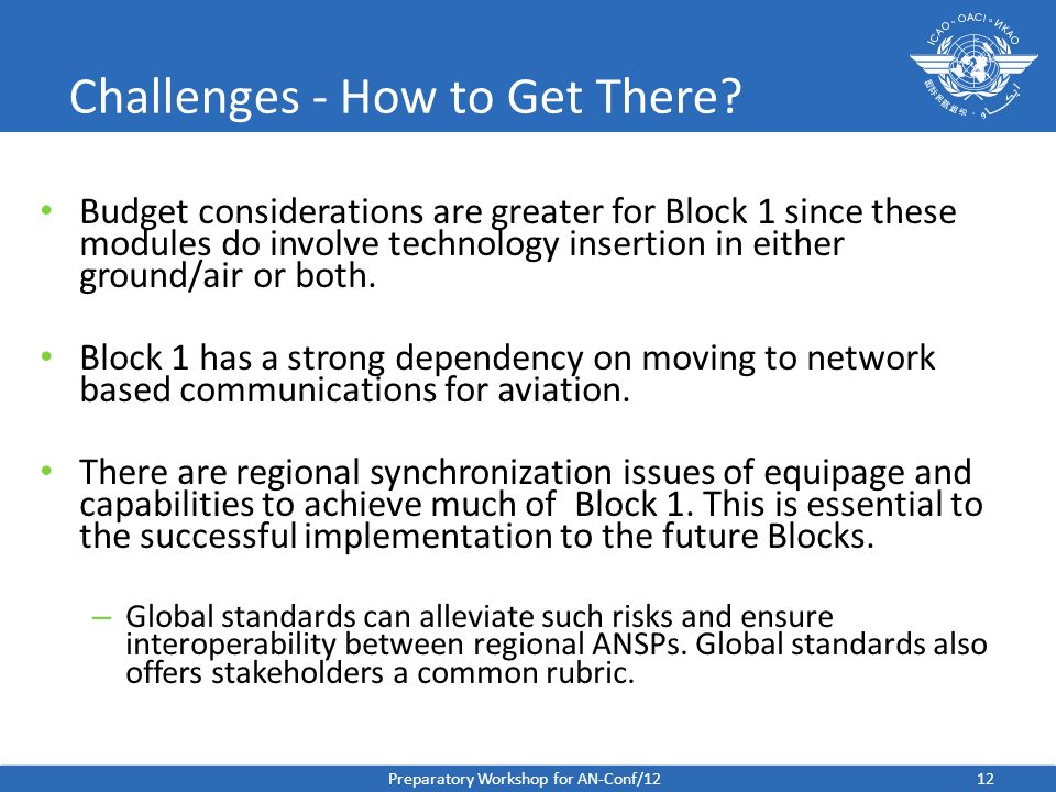Challenges - How to Get There? Budget considerations are greater for Block 1 since these modules do involve technology insertion in either ground/air