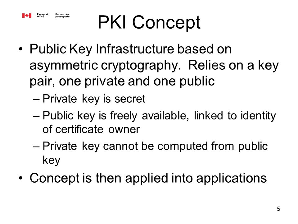 5 PKI Concept Public Key Infrastructure based on asymmetric cryptography.