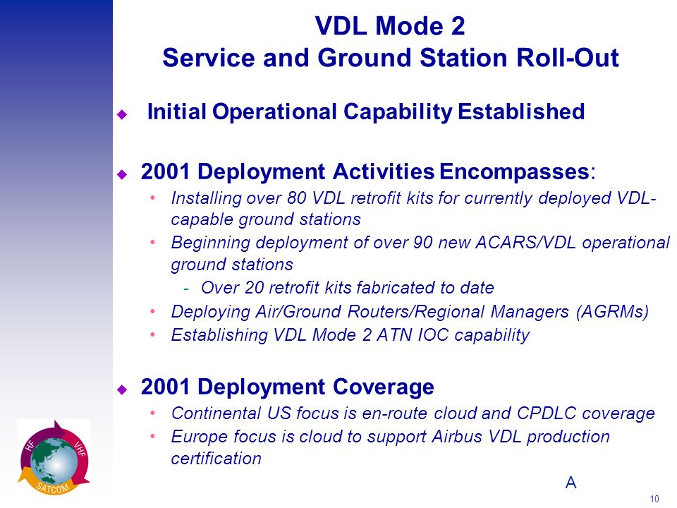 A 10 VDL Mode 2 Service and Ground Station Roll-Out u Initial Operational Capability Established u 2001 Deployment Activities Encompasses: Installing over 80 VDL retrofit kits for currently deployed VDL- capable ground stations Beginning deployment of over 90 new ACARS/VDL operational ground stations Over 20 retrofit kits fabricated to date Deploying Air/Ground Routers/Regional Managers (AGRMs) Establishing VDL Mode 2 ATN IOC capability u 2001 Deployment Coverage Continental US focus is en-route cloud and CPDLC coverage Europe focus is cloud to support Airbus VDL production certification