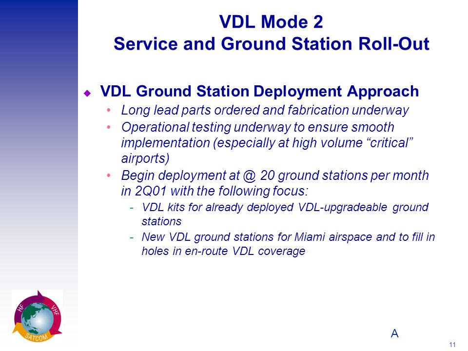 A 11 VDL Mode 2 Service and Ground Station Roll-Out u VDL Ground Station Deployment Approach Long lead parts ordered and fabrication underway Operatio