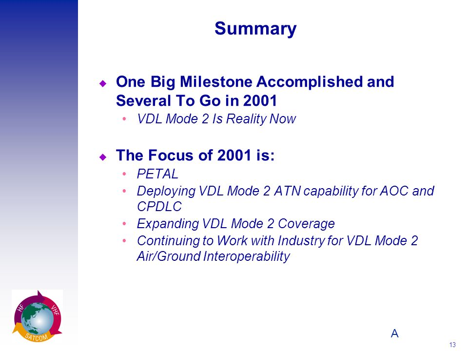 A 13 Summary u One Big Milestone Accomplished and Several To Go in 2001 VDL Mode 2 Is Reality Now u The Focus of 2001 is: PETAL Deploying VDL Mode 2 A