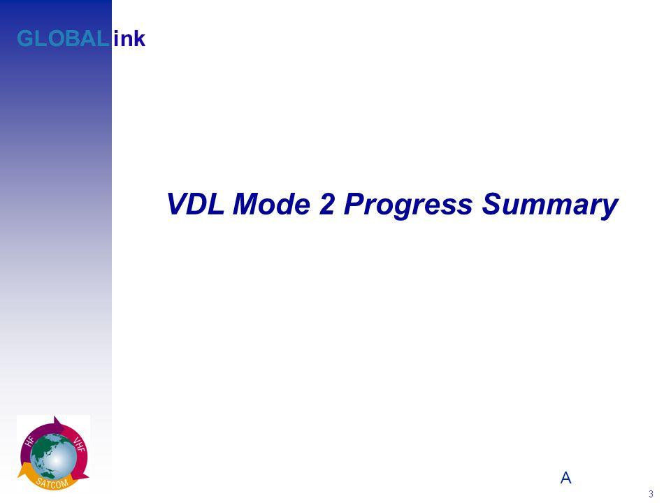 A 3 GLOBALink VDL Mode 2 Progress Summary