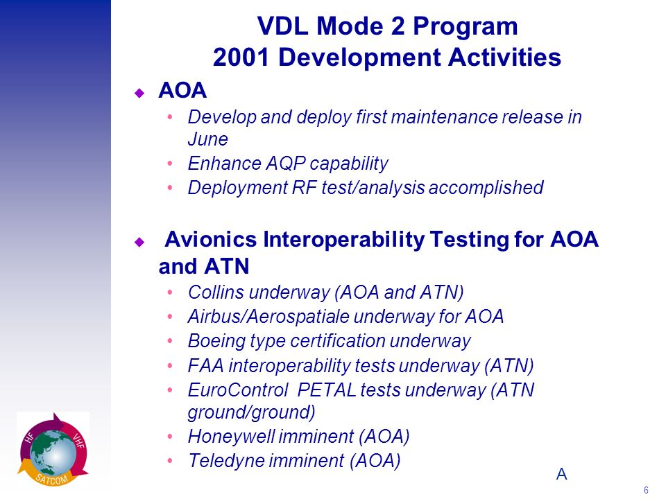 A 6 VDL Mode 2 Program 2001 Development Activities u AOA Develop and deploy first maintenance release in June Enhance AQP capability Deployment RF test/analysis accomplished u Avionics Interoperability Testing for AOA and ATN Collins underway (AOA and ATN) Airbus/Aerospatiale underway for AOA Boeing type certification underway FAA interoperability tests underway (ATN) EuroControl PETAL tests underway (ATN ground/ground) Honeywell imminent (AOA) Teledyne imminent (AOA)