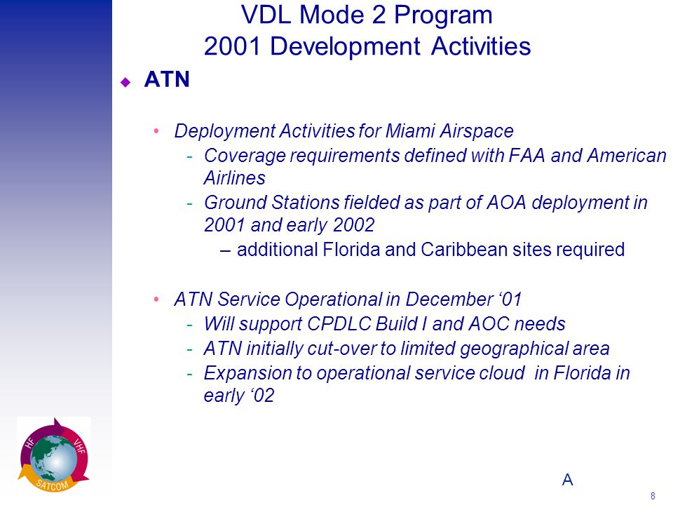 A 8 VDL Mode 2 Program 2001 Development Activities u ATN Deployment Activities for Miami Airspace Coverage requirements defined with FAA and American