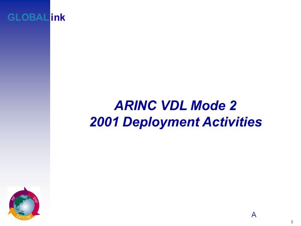 A 9 GLOBALink ARINC VDL Mode 2 2001 Deployment Activities