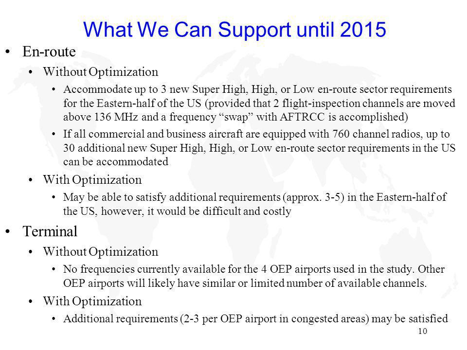 10 What We Can Support until 2015 En-route Without Optimization Accommodate up to 3 new Super High, High, or Low en-route sector requirements for the