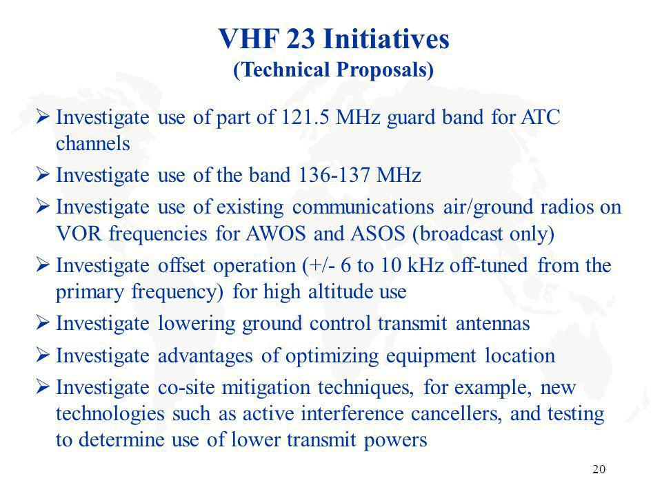 20 VHF 23 Initiatives (Technical Proposals) Investigate use of part of 121.5 MHz guard band for ATC channels Investigate use of the band 136-137 MHz I