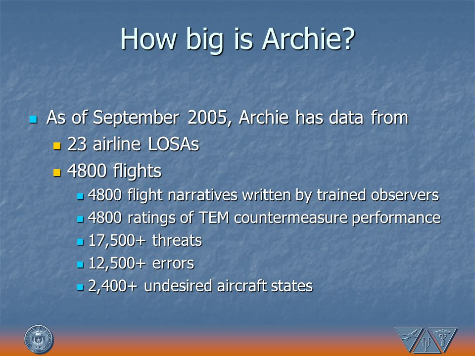 How big is Archie? As of September 2005, Archie has data from As of September 2005, Archie has data from 23 airline LOSAs 23 airline LOSAs 4800 flight