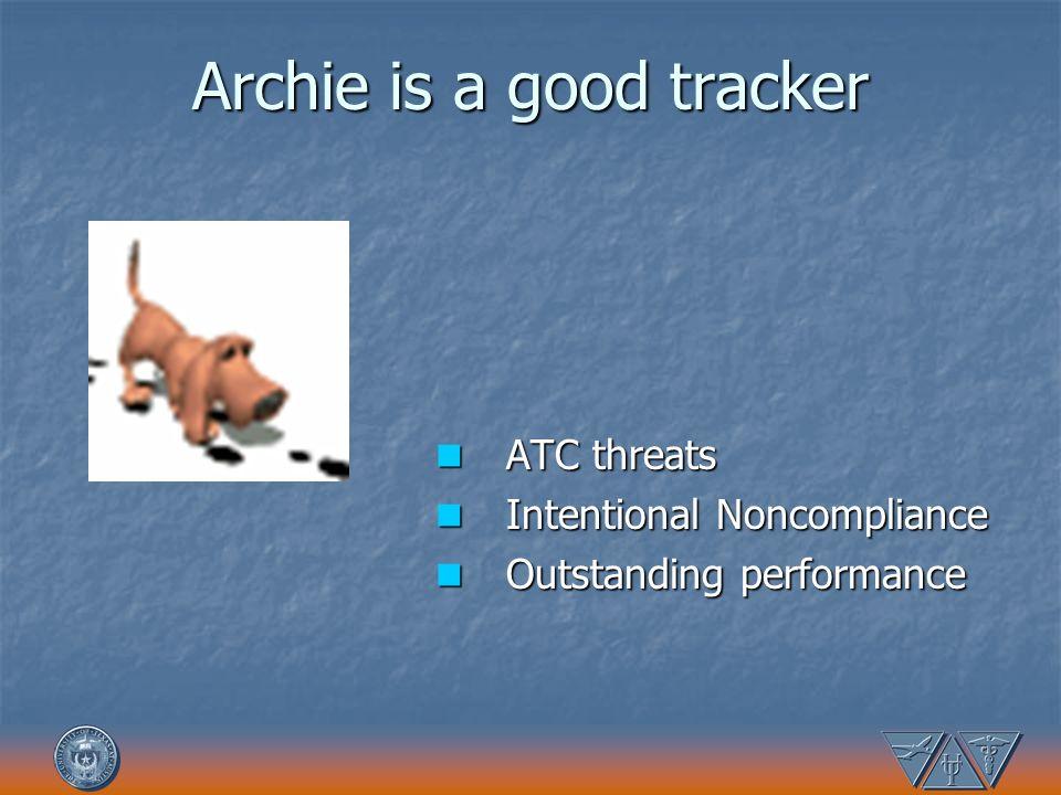 Archie is a good tracker ATC threats ATC threats Intentional Noncompliance Intentional Noncompliance Outstanding performance Outstanding performance