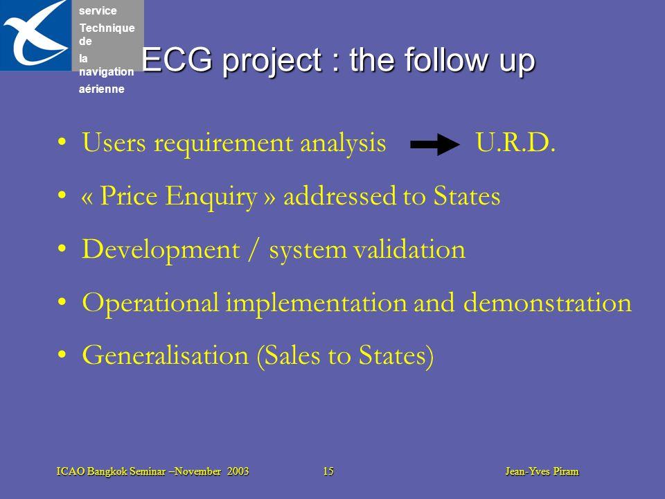 service Technique de la navigation aérienne ICAO Bangkok Seminar –November 2003 15 Jean-Yves Piram ECG project : the follow up Users requirement analy