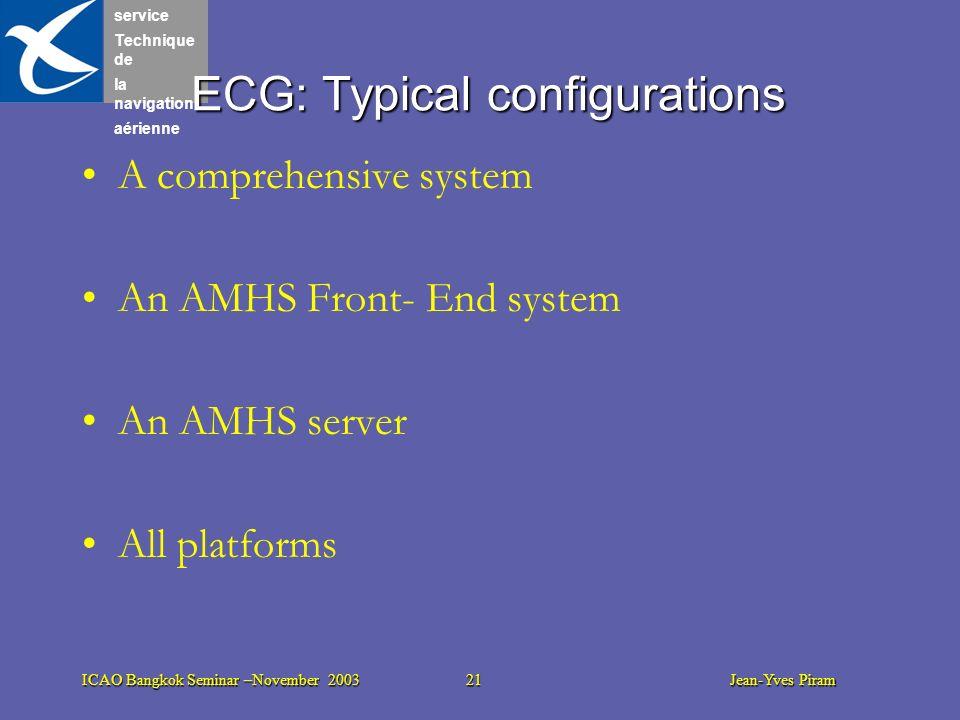 service Technique de la navigation aérienne ICAO Bangkok Seminar –November 2003 21 Jean-Yves Piram ECG: Typical configurations A comprehensive system