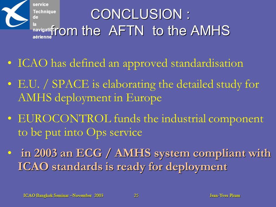 service Technique de la navigation aérienne ICAO Bangkok Seminar –November 2003 25 Jean-Yves Piram CONCLUSION : from the AFTN to the AMHS ICAO has def