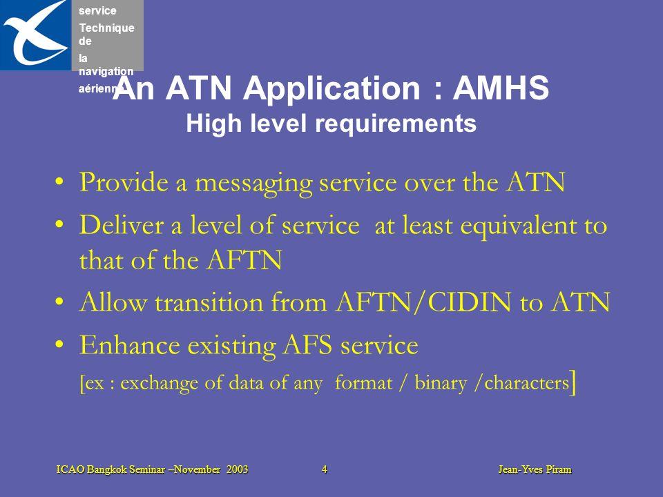 service Technique de la navigation aérienne ICAO Bangkok Seminar –November 2003 4 Jean-Yves Piram An ATN Application : AMHS High level requirements Pr