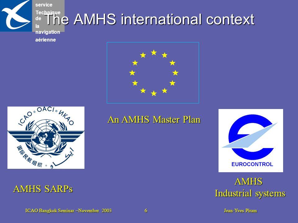 service Technique de la navigation aérienne ICAO Bangkok Seminar –November 2003 6 Jean-Yves Piram The AMHS international context AMHS SARPs An AMHS Ma