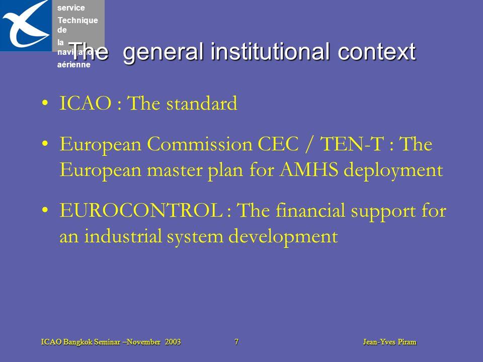 service Technique de la navigation aérienne ICAO Bangkok Seminar –November 2003 7 Jean-Yves Piram ICAO : The standard European Commission CEC / TEN-T